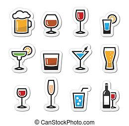 bebida, álcool, bebida, ícones, jogo, como