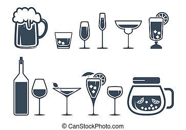 bebida, álcool, bebida, ícones, jogo