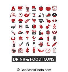 bebida, &, ícones alimento, jogo, vetorial