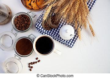 bebida, ainda, home., copo, revigorando, vista., experiência., topo, alimento, café, branca, pequeno almoço, tabela., grain., life., chão