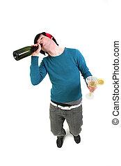 bebida, aislado, estudiante, borracho