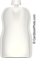 bebida, alimento, boné, embalagem, saco, puree, em branco, bebê, flexível, branca, bolso, ou