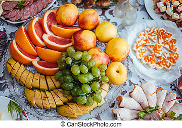 Bebida, alimento, tradicional, banquete, boda, tabla