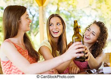 bebida, amigos, charlar