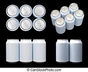 bebida, blanco, proyecciones, seis empacan, latas