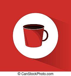 bebida café, quente vermelho, copo
