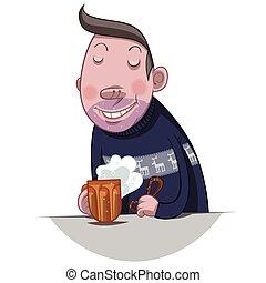 bebida, cerveza, hombre gordo