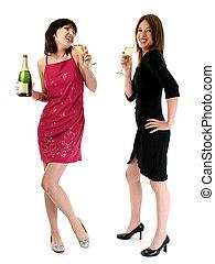 bebida, champaña, niñas
