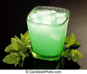 bebida, com, hortelã, e, gelo