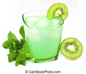 bebida, com, hortelã, e, kiwi