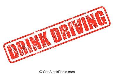 bebida, conducción, rojo, estampilla, texto