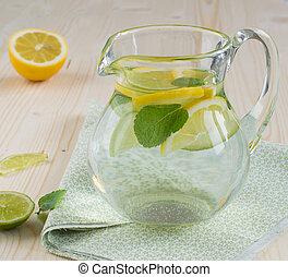 bebida del limón, menta, refrescante