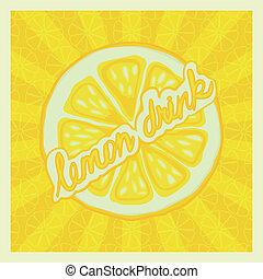 bebida del limón, plano de fondo, -, vector, ilustración