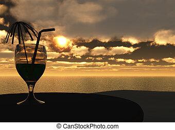 bebida, em, pôr do sol