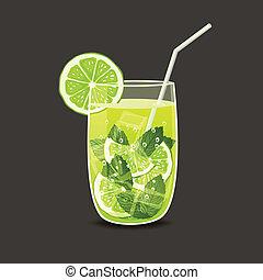 bebida, en, vidrio