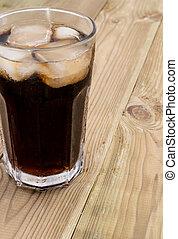 bebida fría, en, madera