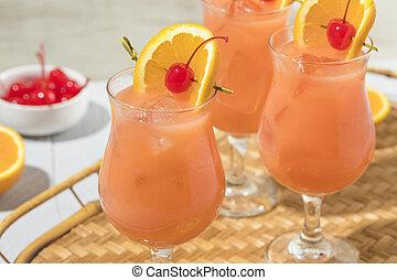 bebida, furacão, caseiro, coquetel, alcoólico