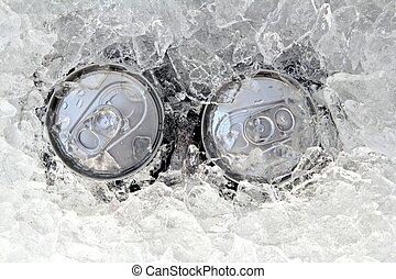 bebida, helado, helada, dos, hielo, lata, sumergido