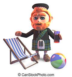 bebida, holidaying, falda escocesa, ilustración, hombre,...