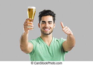 bebida, hombre, cerveza, joven