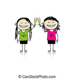 bebida, meninas, desenho, partido, vinho., amigos, seu