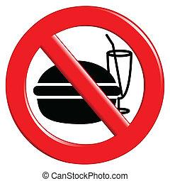 bebida, no, comida, señal