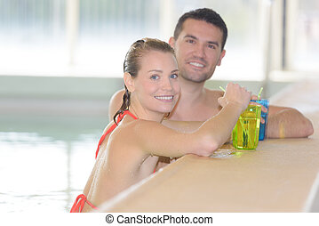 bebida, piscina, natação