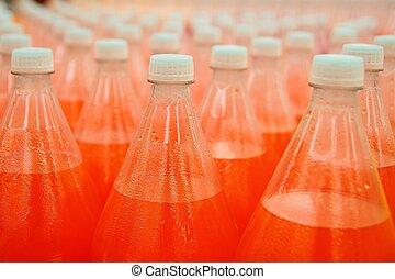 bebida, plástico, suco laranja, garrafa, fábrica
