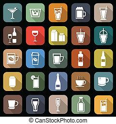 bebida, plano, iconos, con, largo, sombra