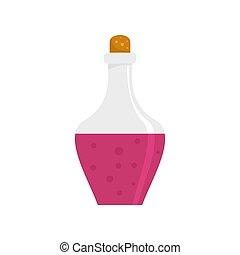 bebida, poción, icono, plano, estilo