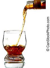 bebida que vierte, alcohol, vidrio