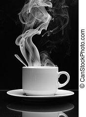 bebida quente, com, vapor