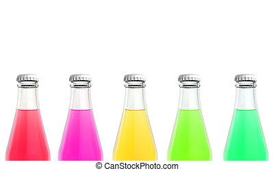 bebida suco, garrafas, vidro
