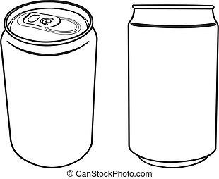 bebida, vector, lata, contorno