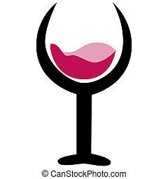 bebida, y, vino, logotipo, icono