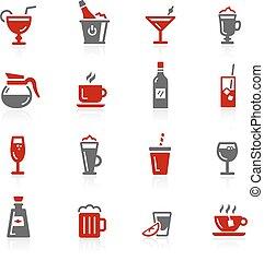 bebidas, ícones, -, redico, série