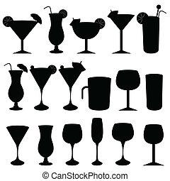 bebidas alcoólicas, e, óculos