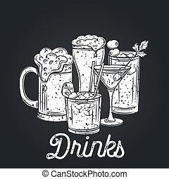 bebidas alcohólicas, icono, retro