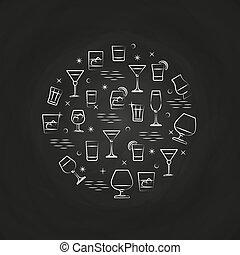 bebidas alcohólicas, iconos, en, pizarra
