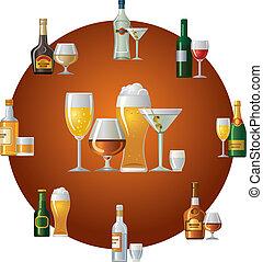 bebidas, alcohol, icono