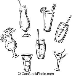 bebidas, cócteles, y, bebidas, dibujos