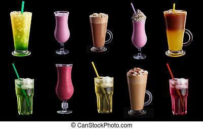 bebidas, coctails, conjunto, en, fondo negro