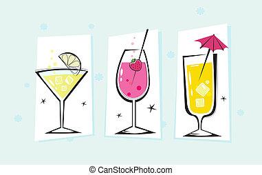 bebidas, colección, estilizado, retro