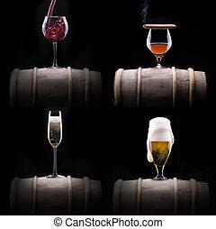 bebidas, Conjunto, negro,  Alcohol, aislado