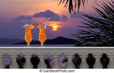 bebidas, en, un, tropical, balcón