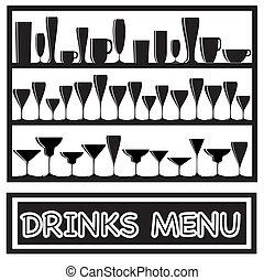 bebidas, menú, negro y blanco