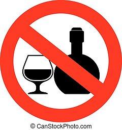 bebidas, señal, no, alcohólico