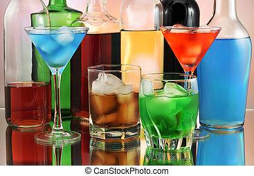 bebidas, variedade, alcoólico