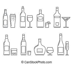 bebidas, y, bebidas, delgado, iconos