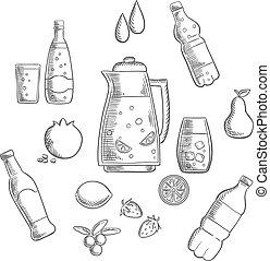 bebidas, y, bebidas, dibujos, composición
